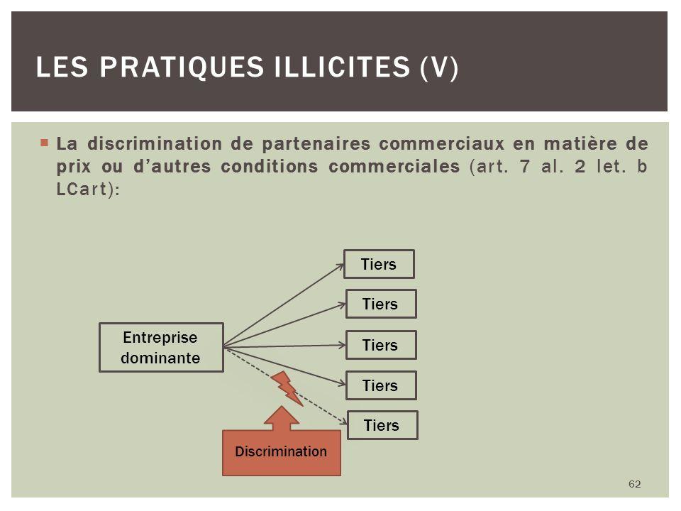 Les pratiques illicites (V)