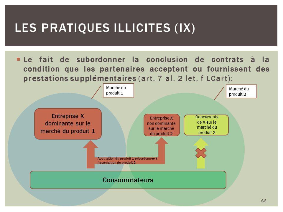 Les pratiques illicites (IX)