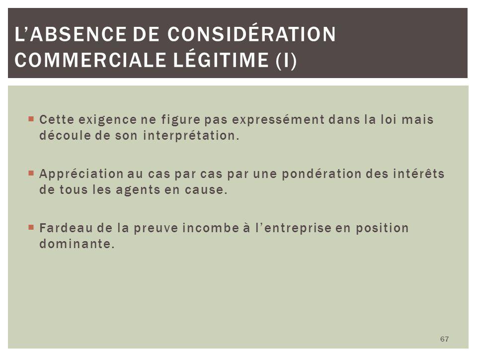 L'absence de considération commerciale légitime (I)