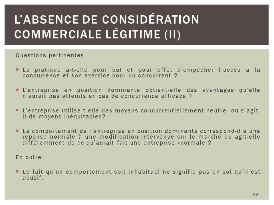 L'absence de considération commerciale légitime (II)