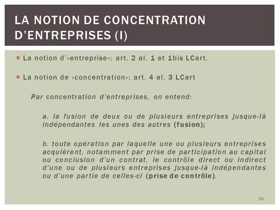 La notion de concentration d'entreprises (I)