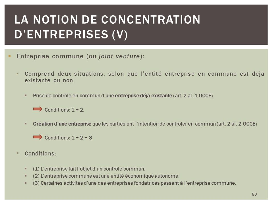 La notion de concentration d'entreprises (V)