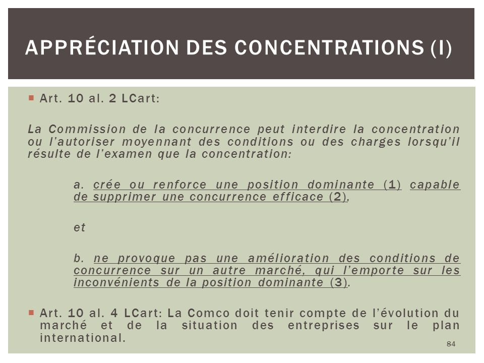 Appréciation des concentrations (I)