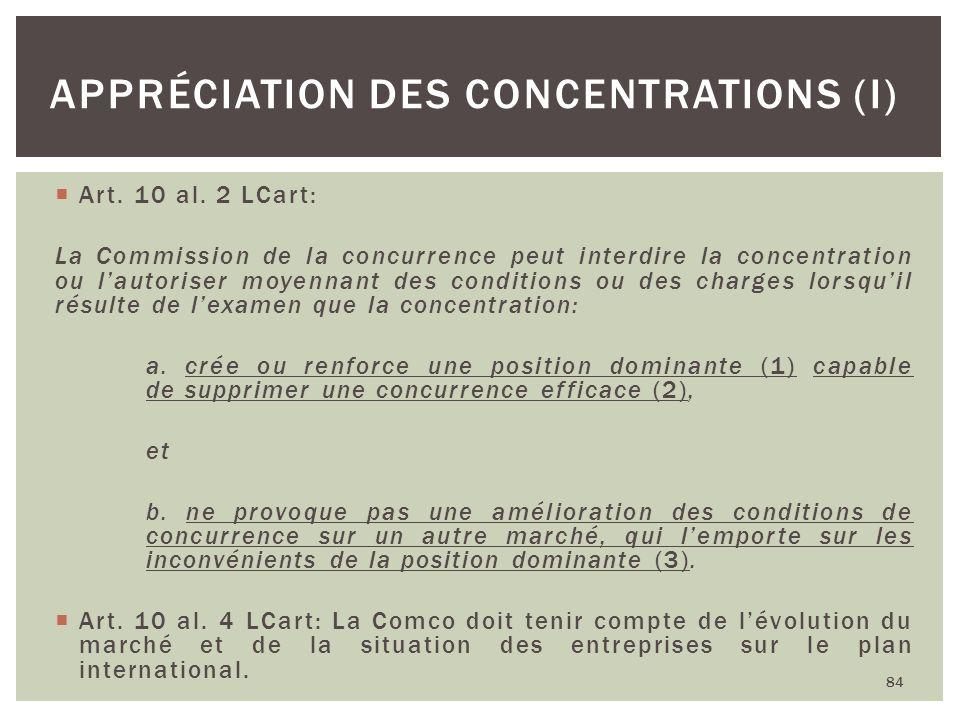 Appréciation des concentrations (I)