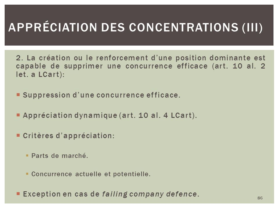 Appréciation des concentrations (III)