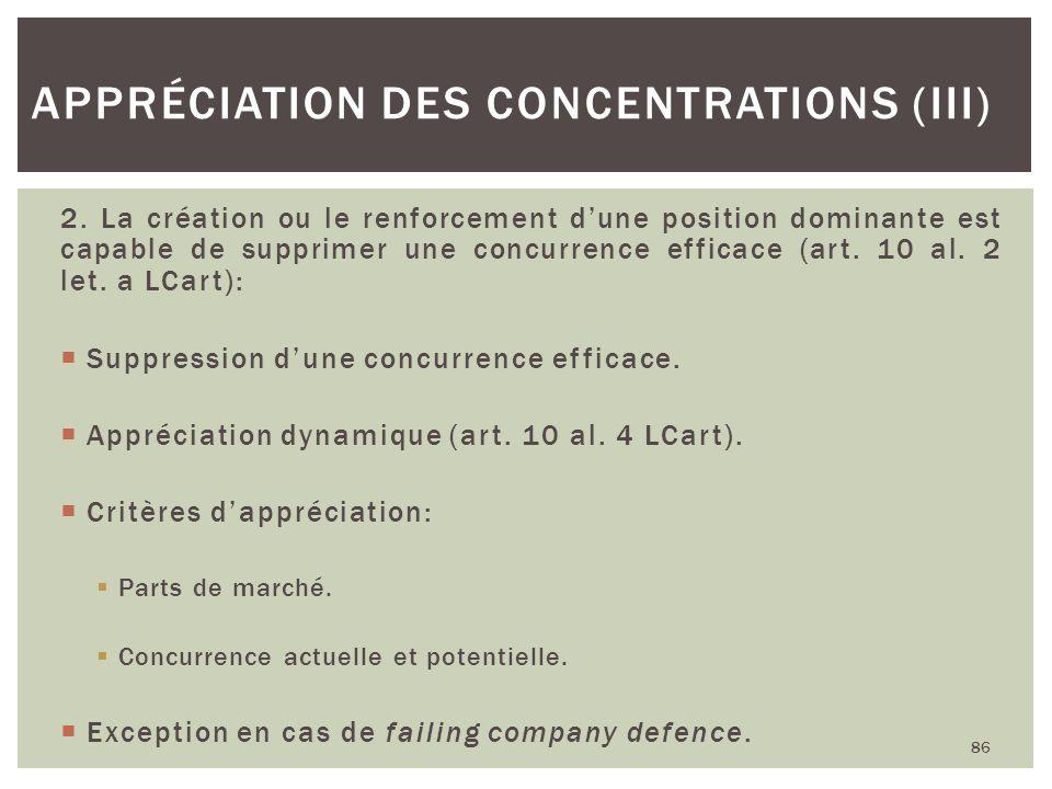 Appréciation des concentrations (III)