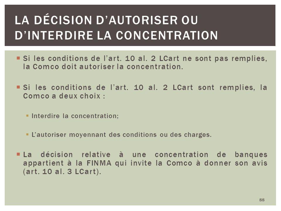 La décision d'autoriser ou d'interdire la concentration