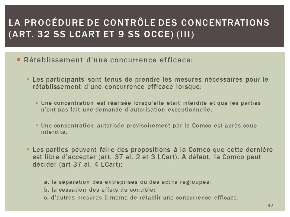 La procédure de contrôle des concentrations (art