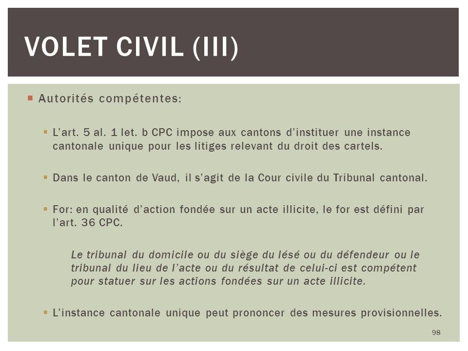 Volet civil (III) Autorités compétentes: