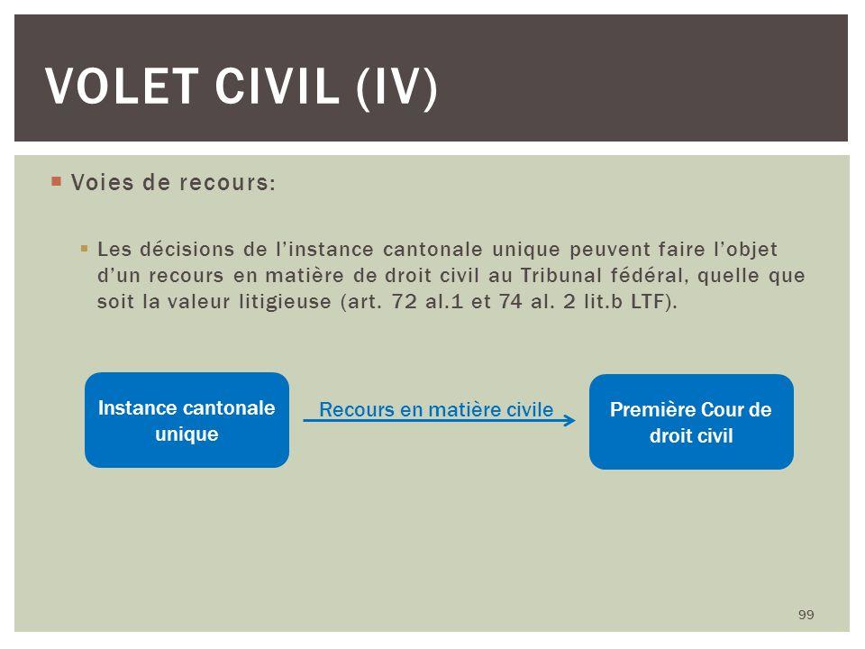 Volet civil (iV) Voies de recours: