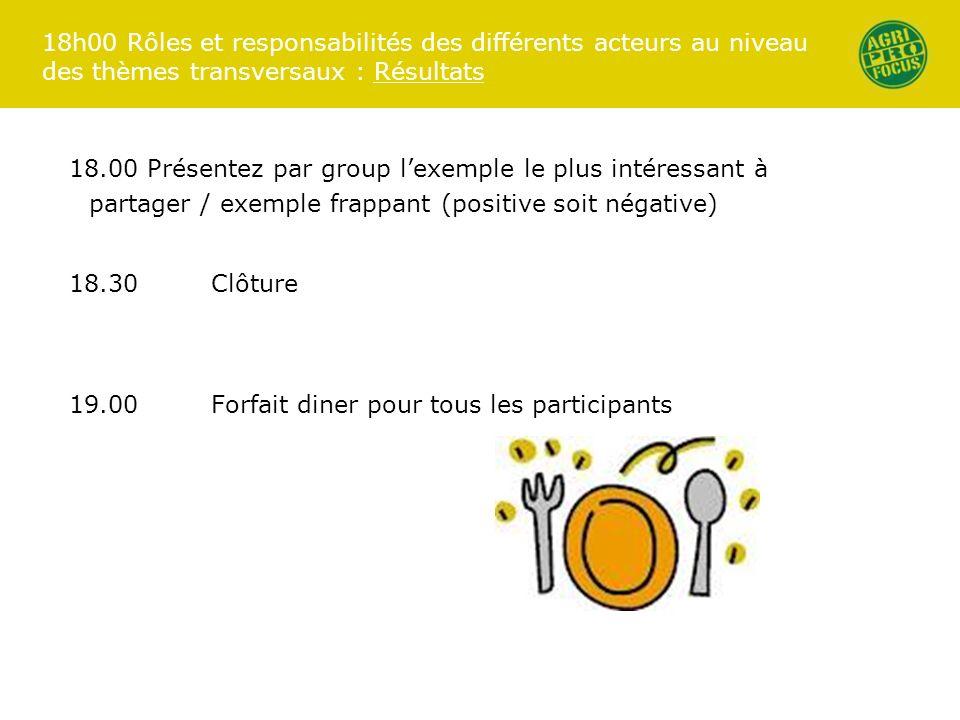 18h00 Rôles et responsabilités des différents acteurs au niveau des thèmes transversaux : Résultats