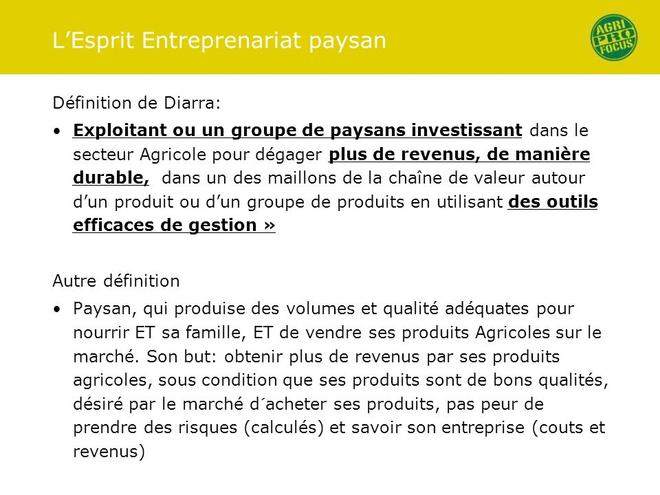 L'Esprit Entreprenariat paysan