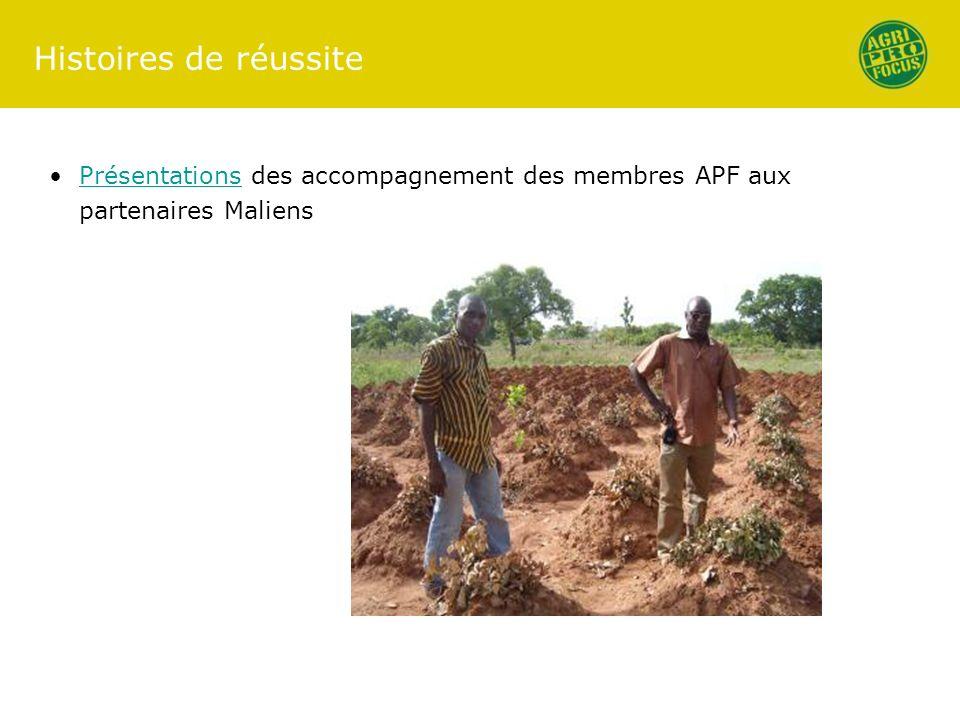 Histoires de réussite Présentations des accompagnement des membres APF aux partenaires Maliens