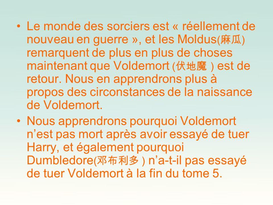 Le monde des sorciers est « réellement de nouveau en guerre », et les Moldus(麻瓜) remarquent de plus en plus de choses maintenant que Voldemort (伏地魔 ) est de retour. Nous en apprendrons plus à propos des circonstances de la naissance de Voldemort.
