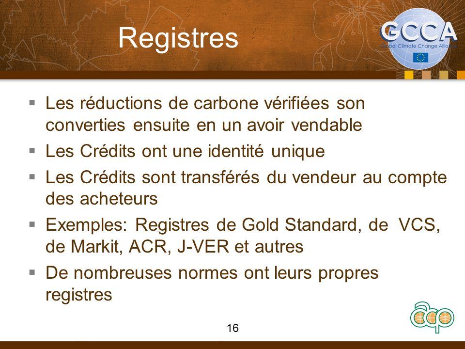 Registres Les réductions de carbone vérifiées son converties ensuite en un avoir vendable. Les Crédits ont une identité unique.