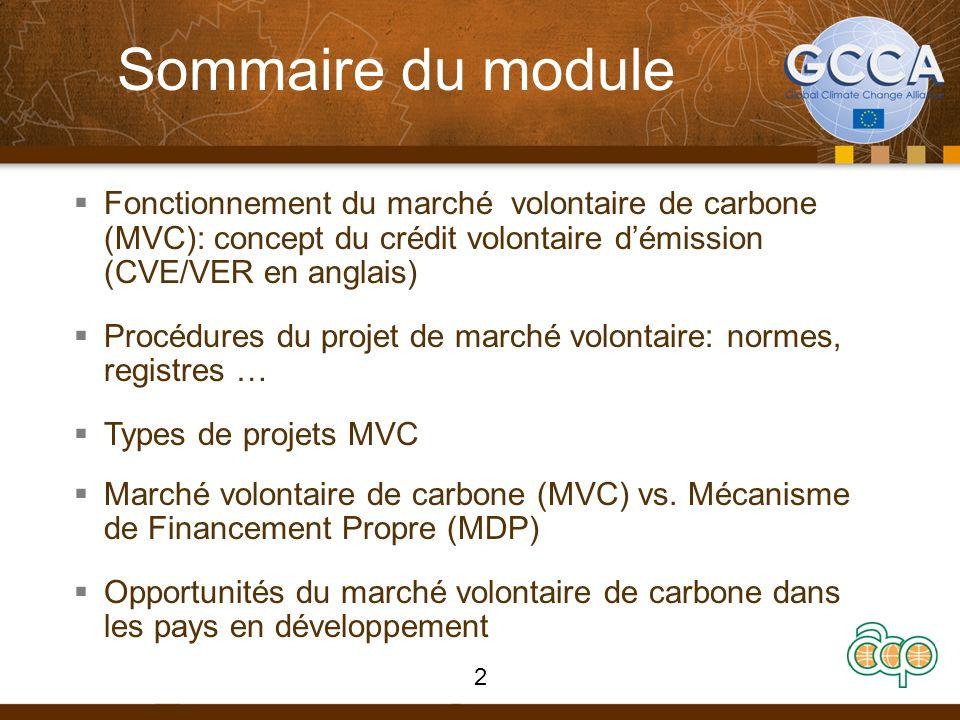 Sommaire du moduleFonctionnement du marché volontaire de carbone (MVC): concept du crédit volontaire d'émission (CVE/VER en anglais)