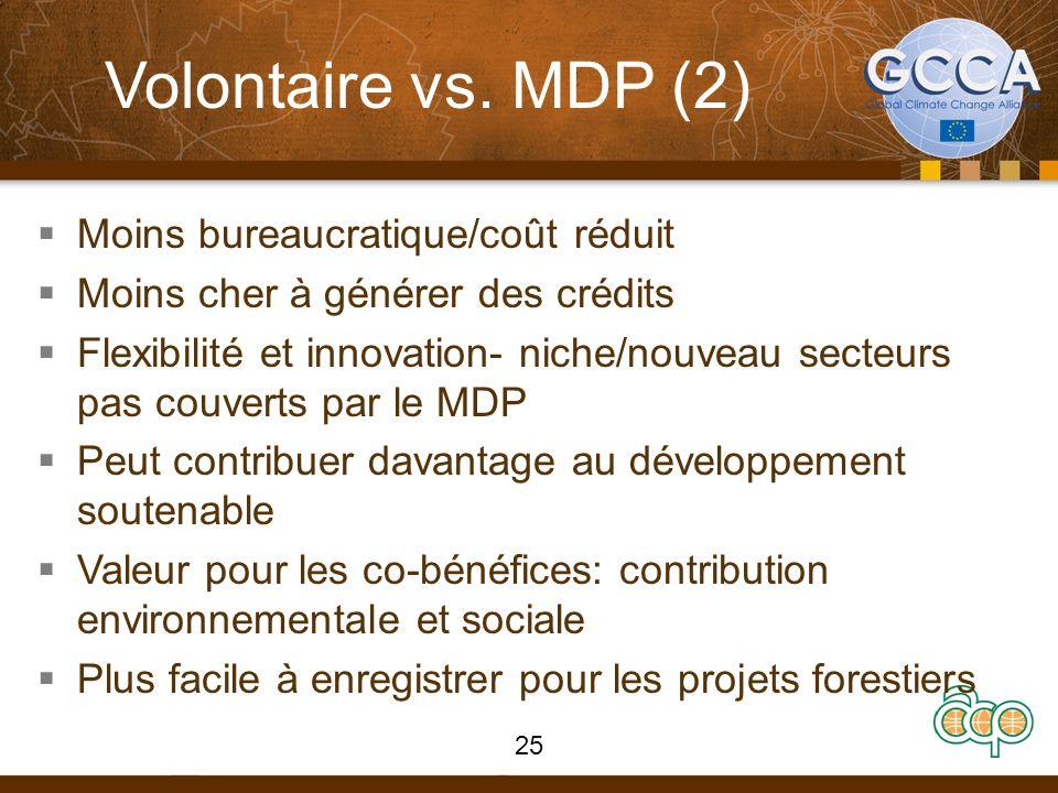 Volontaire vs. MDP (2) Moins bureaucratique/coût réduit