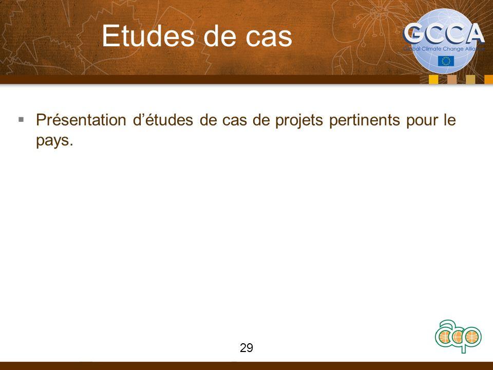Etudes de cas Présentation d'études de cas de projets pertinents pour le pays.