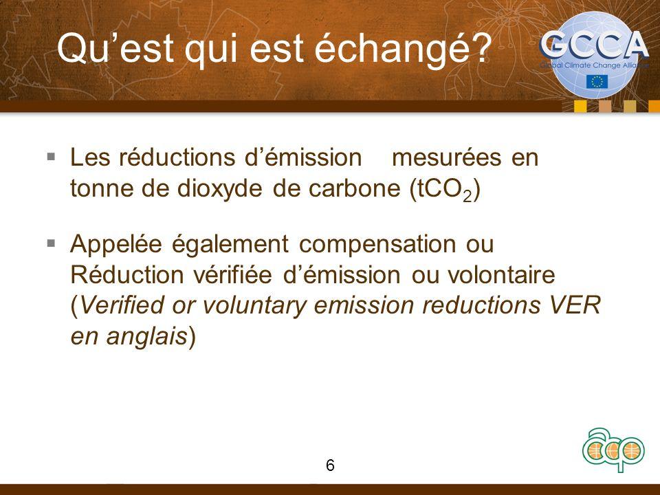 Qu'est qui est échangé Les réductions d'émission mesurées en tonne de dioxyde de carbone (tCO2)