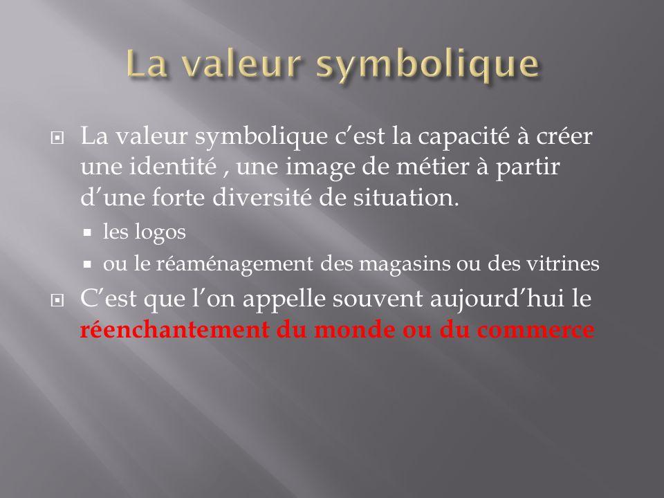 La valeur symbolique La valeur symbolique c'est la capacité à créer une identité , une image de métier à partir d'une forte diversité de situation.