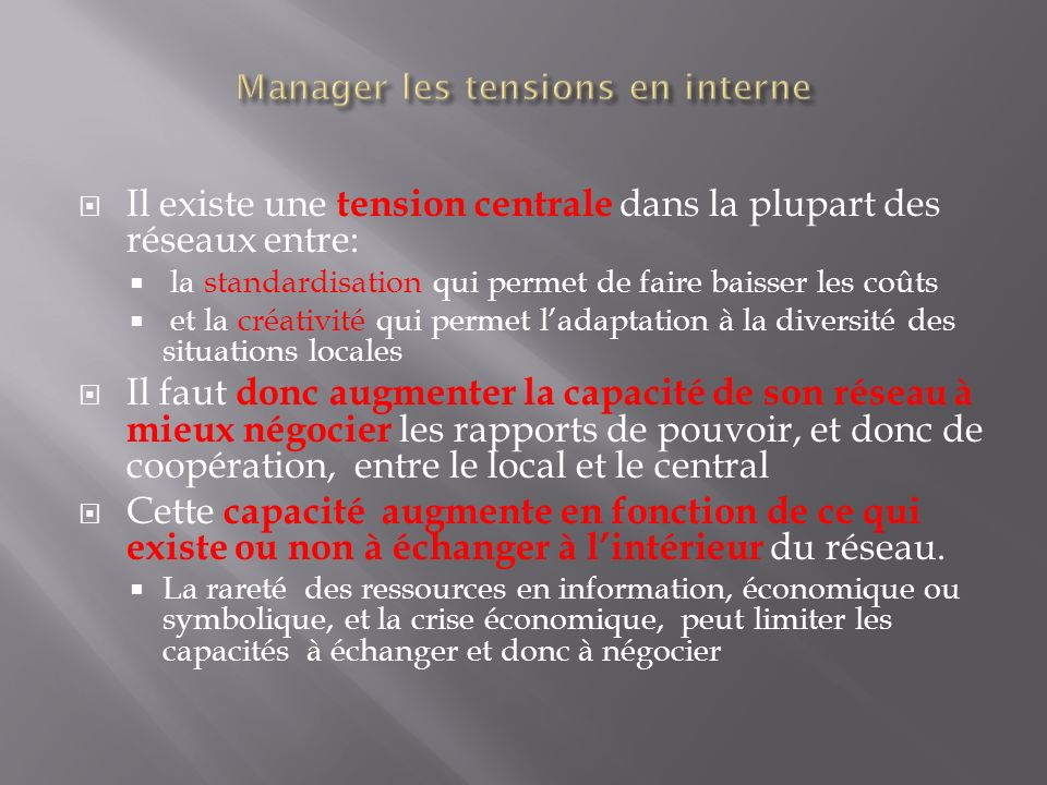Manager les tensions en interne