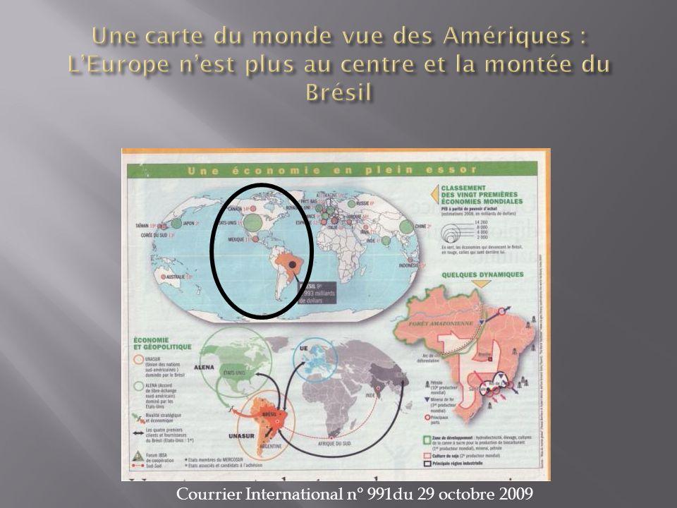 Une carte du monde vue des Amériques : L'Europe n'est plus au centre et la montée du Brésil