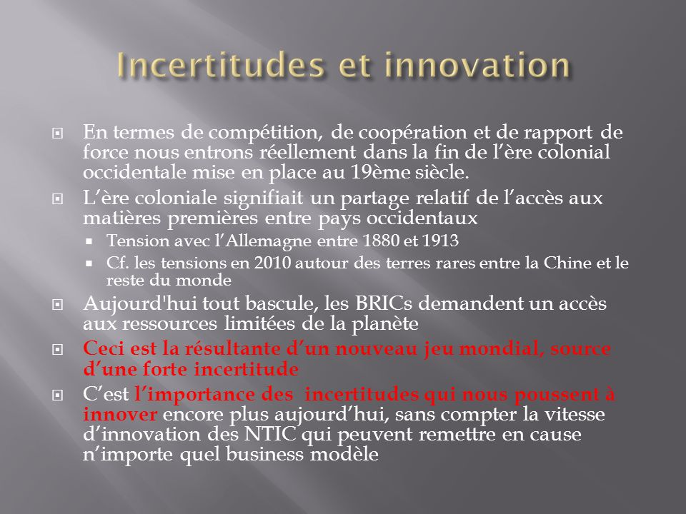Incertitudes et innovation