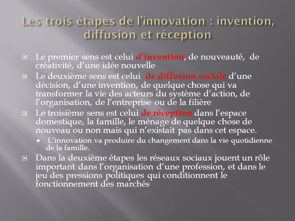 Les trois étapes de l'innovation : invention, diffusion et réception