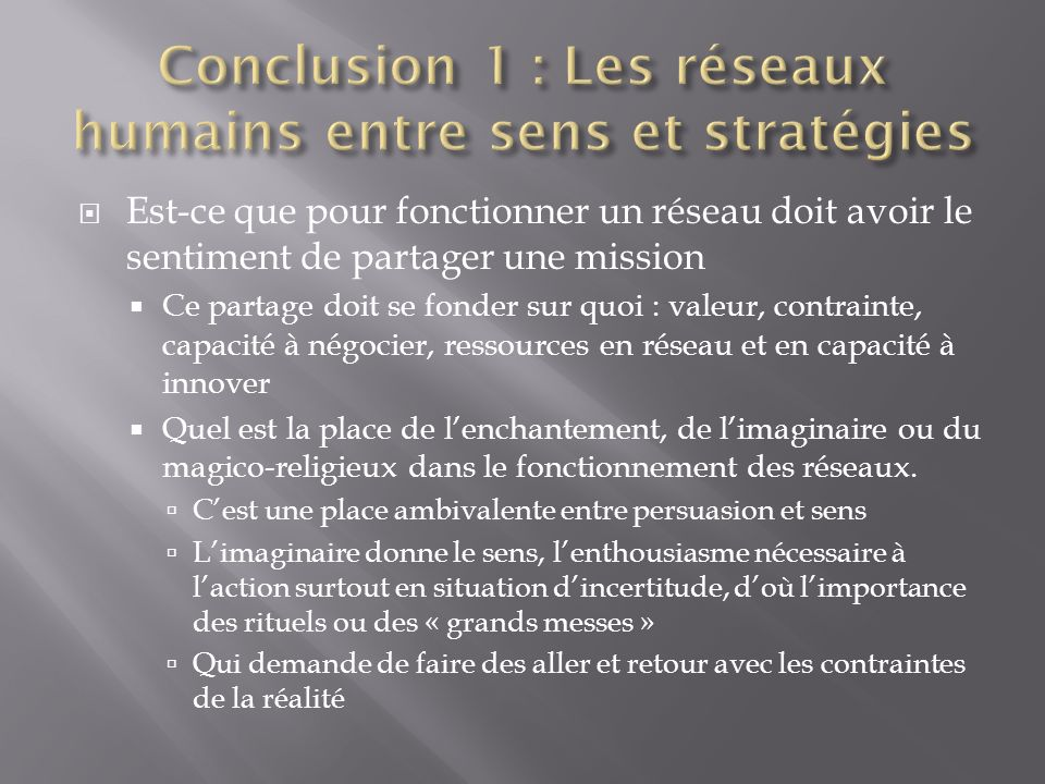 Conclusion 1 : Les réseaux humains entre sens et stratégies