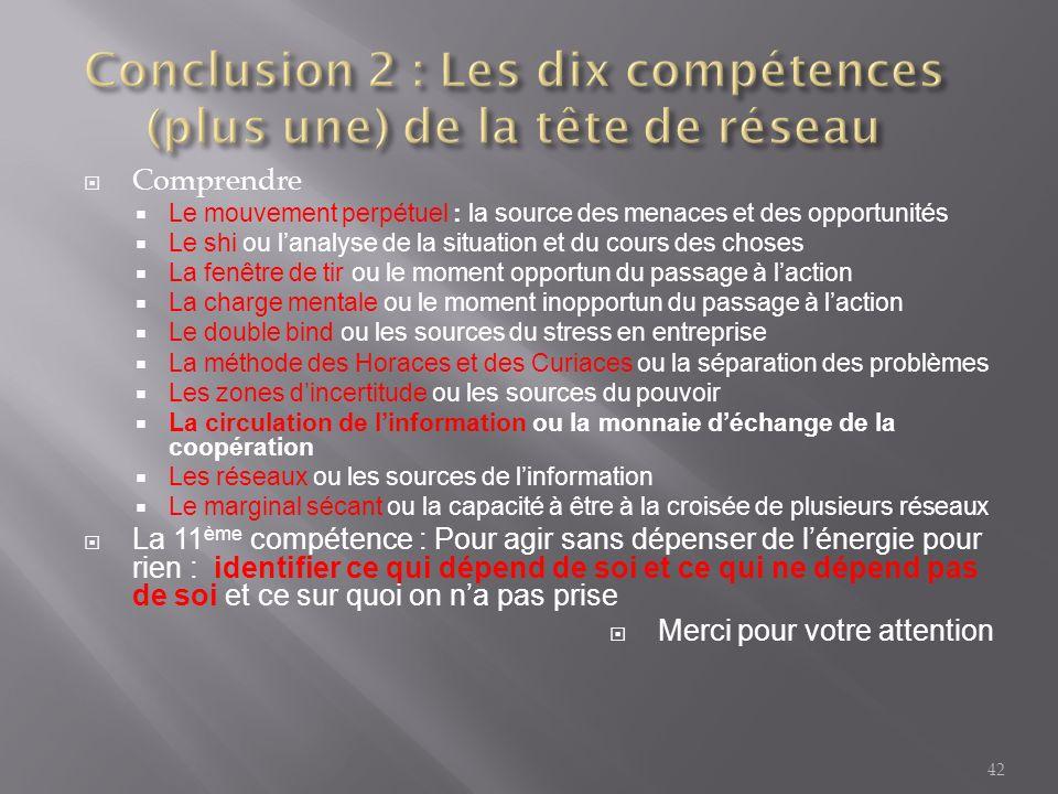 Conclusion 2 : Les dix compétences (plus une) de la tête de réseau
