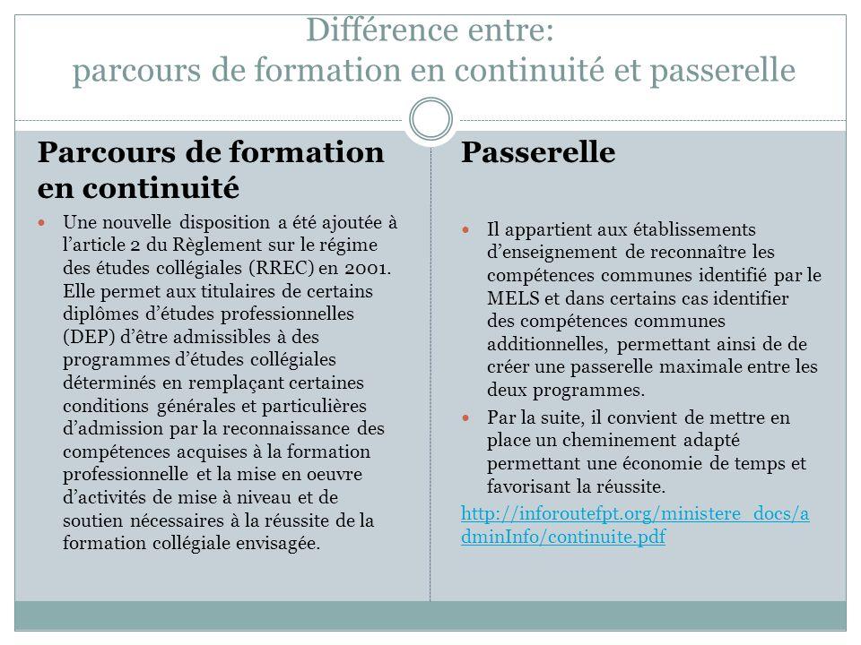 Différence entre: parcours de formation en continuité et passerelle