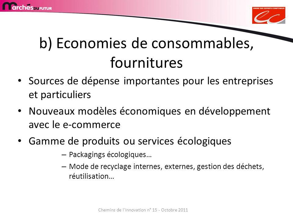 b) Economies de consommables, fournitures