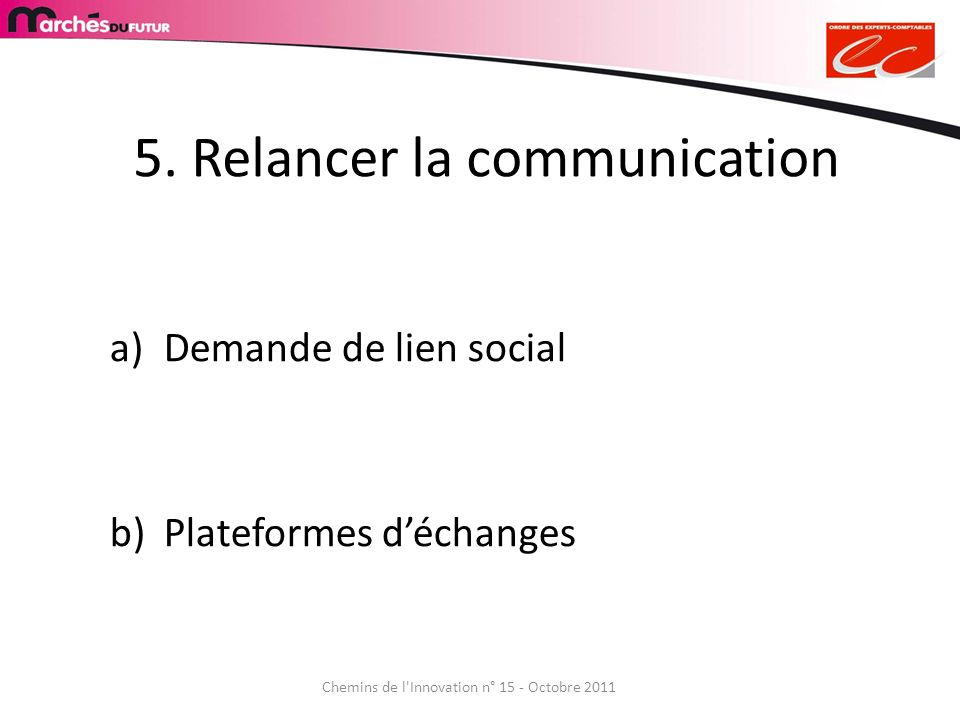 5. Relancer la communication