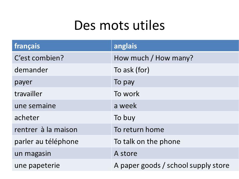 Des mots utiles français anglais C'est combien How much / How many