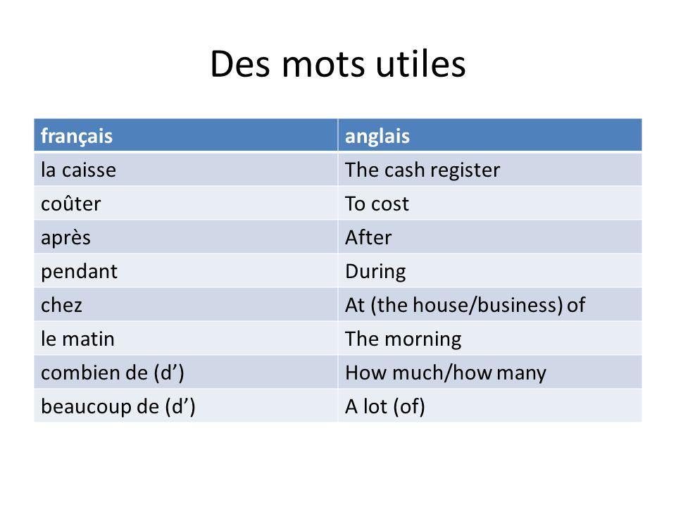 Des mots utiles français anglais la caisse The cash register coûter