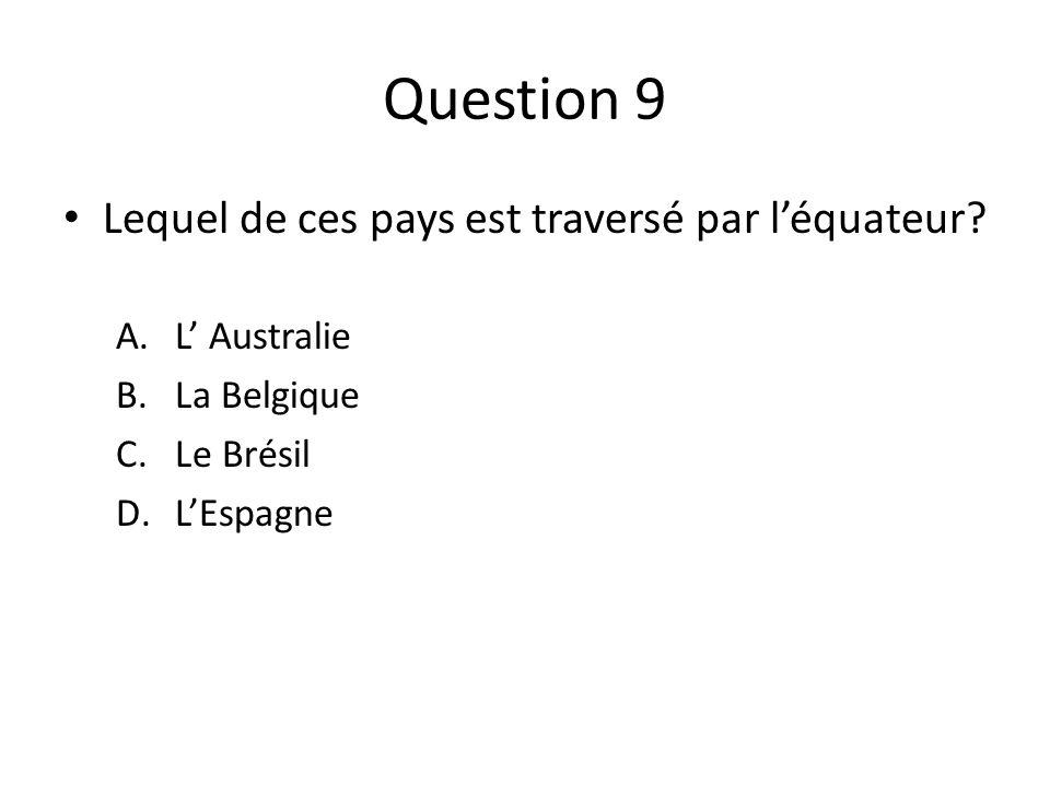 Question 9 Lequel de ces pays est traversé par l'équateur