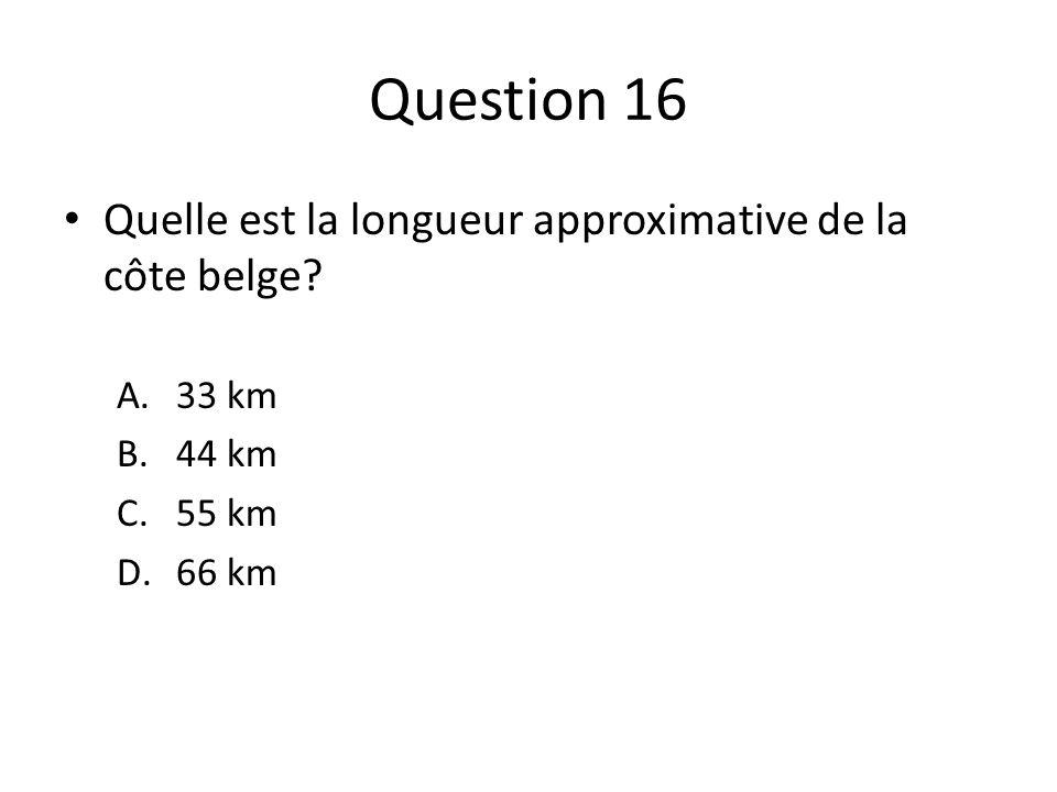 Question 16 Quelle est la longueur approximative de la côte belge