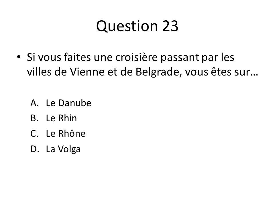 Question 23 Si vous faites une croisière passant par les villes de Vienne et de Belgrade, vous êtes sur…