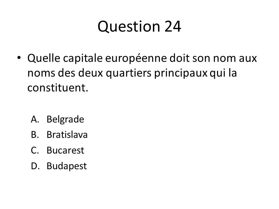 Question 24 Quelle capitale européenne doit son nom aux noms des deux quartiers principaux qui la constituent.