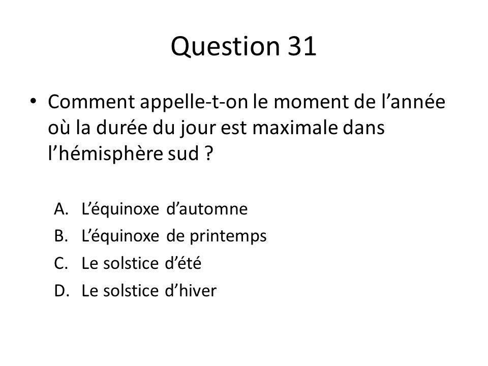 Question 31 Comment appelle-t-on le moment de l'année où la durée du jour est maximale dans l'hémisphère sud