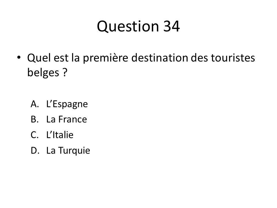 Question 34 Quel est la première destination des touristes belges