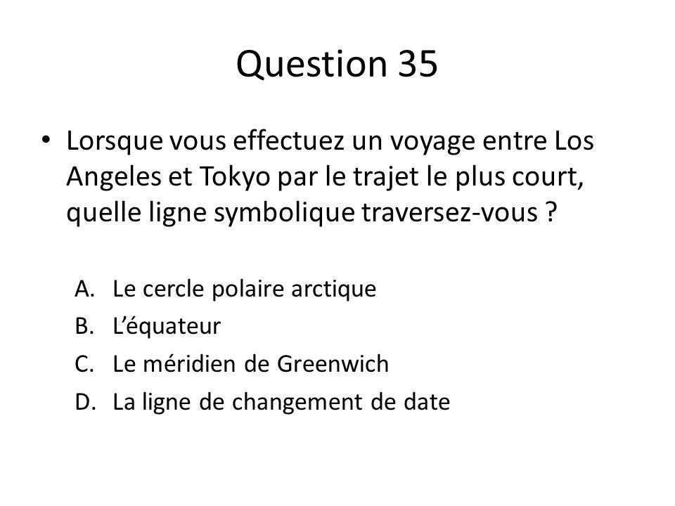 Question 35 Lorsque vous effectuez un voyage entre Los Angeles et Tokyo par le trajet le plus court, quelle ligne symbolique traversez-vous