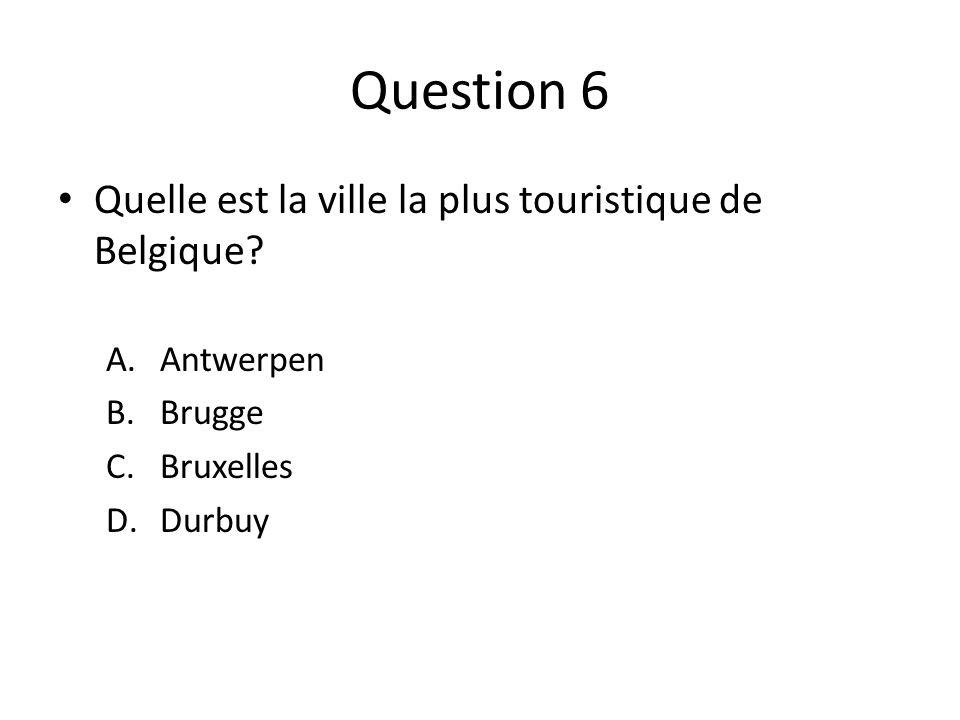 Question 6 Quelle est la ville la plus touristique de Belgique