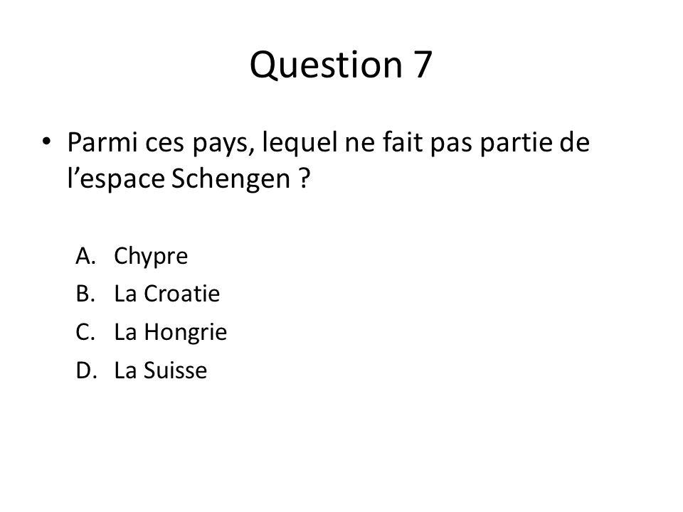 Question 7 Parmi ces pays, lequel ne fait pas partie de l'espace Schengen Chypre. La Croatie. La Hongrie.