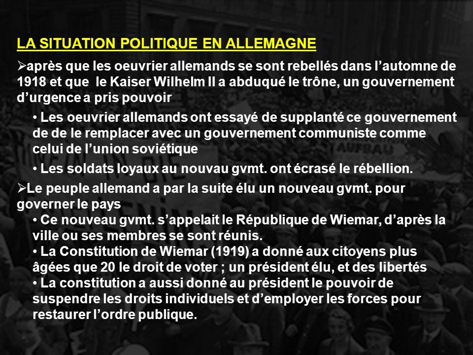 LA SITUATION POLITIQUE EN ALLEMAGNE