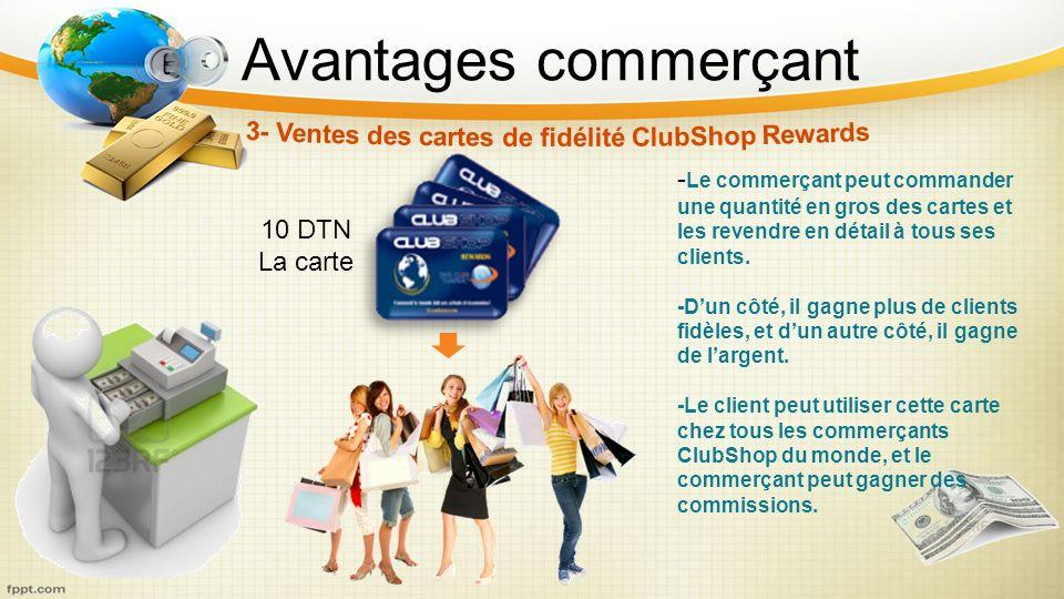 3- Ventes des cartes de fidélité ClubShop Rewards