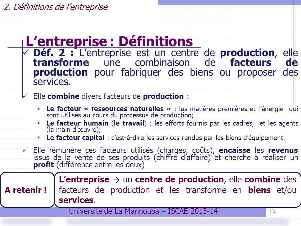 L'entreprise : Définitions