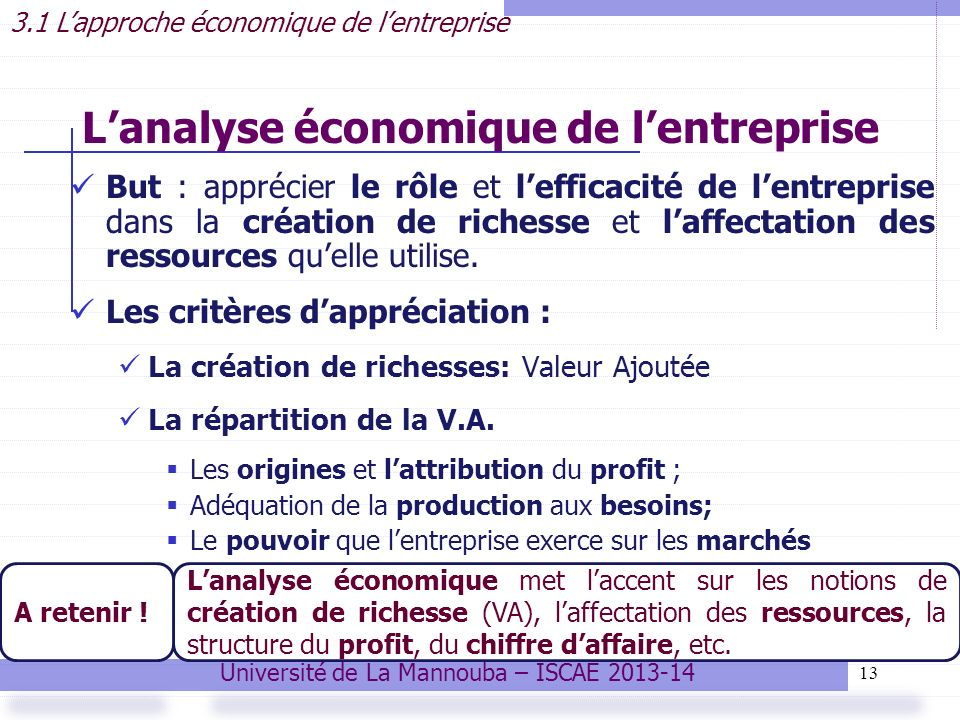 L'analyse économique de l'entreprise