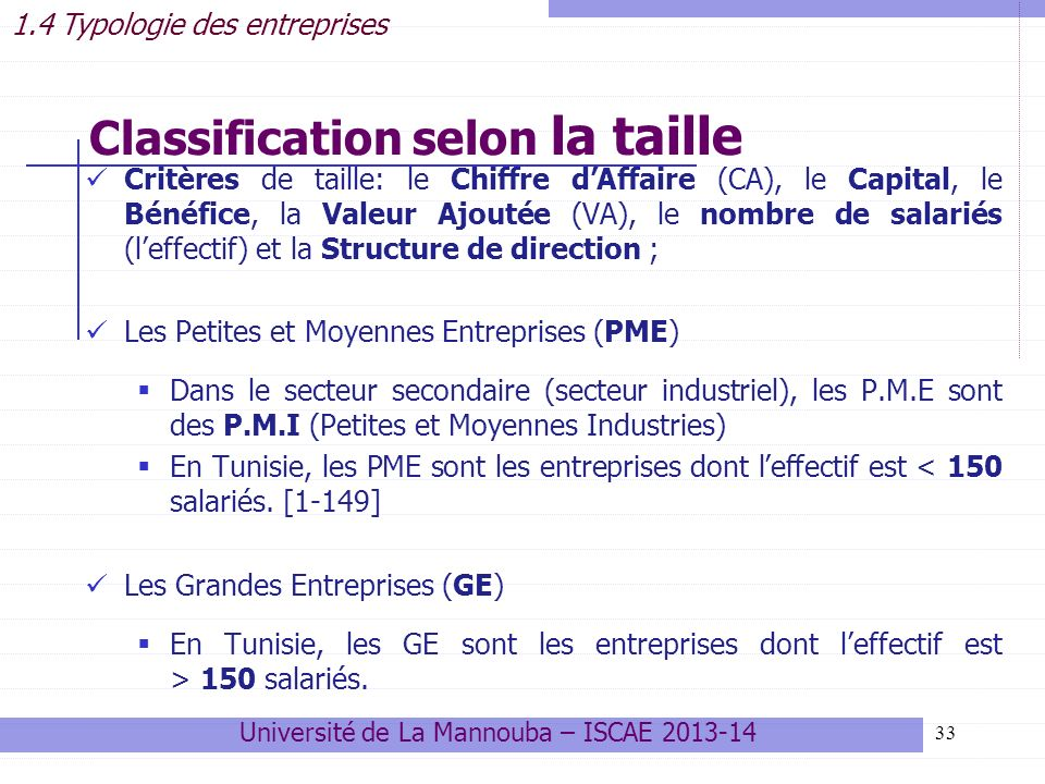 Classification selon la taille