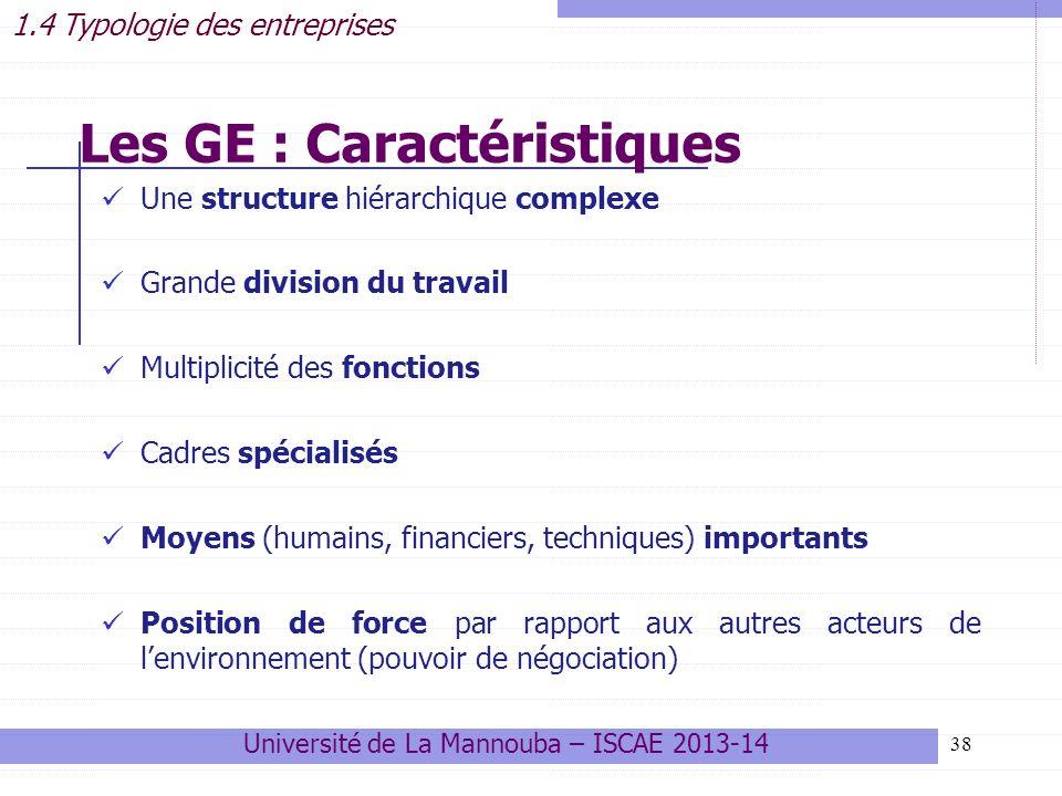 Les GE : Caractéristiques